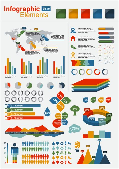 infographics and chart design elements vector set set of infographics and chart elements vector 01 vector