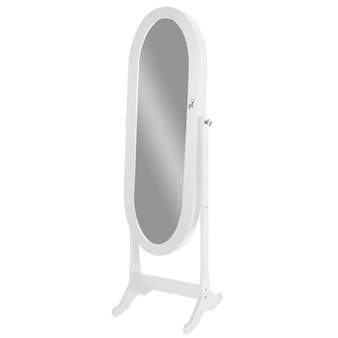 oval mirror jewelry armoire baxton studio apache white finish wood oval shaped free