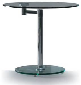 Modern glass and chrome round swivel side table anzio