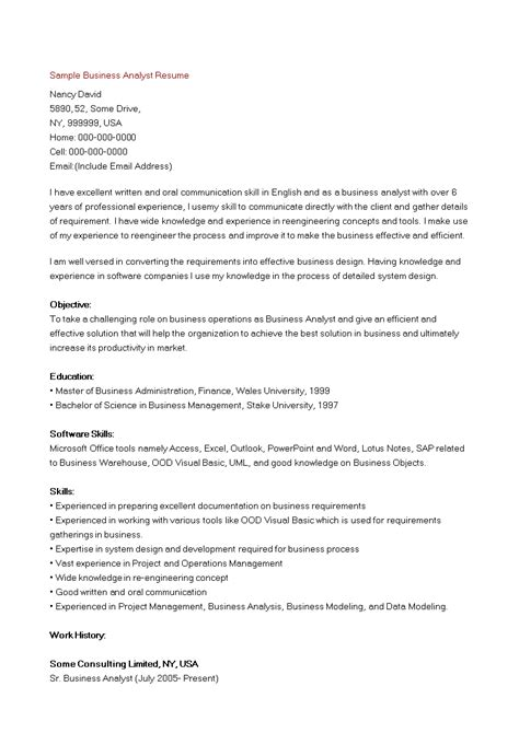 sample business analyst resume templates