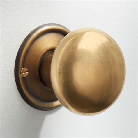 Satin Brass Door Knobs by Bun Door Knobs 50mm Antique Satin Brass Broughtons Of