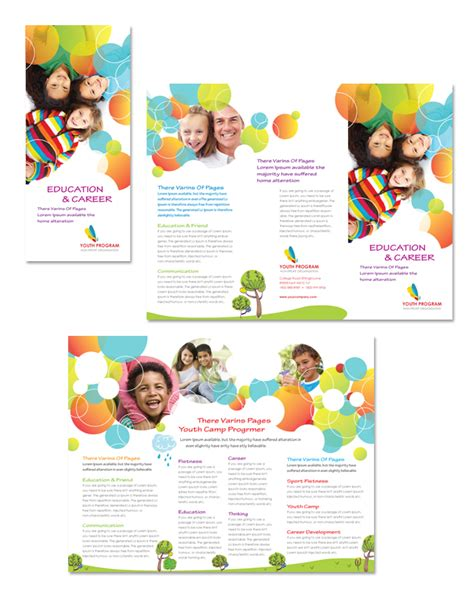 program brochure templates youth program tri fold brochure template