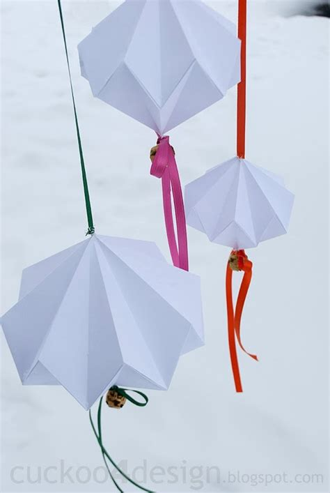 Origami Bells - jingle mingle origami jingle bell ornament