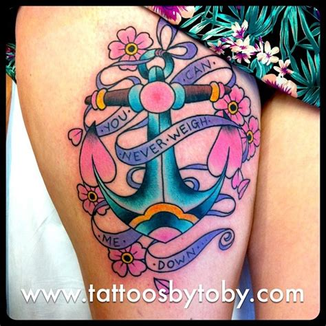 anchor thigh tattoo anchor on thigh with flowers tattooshunt