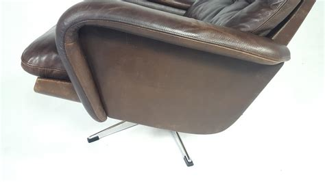 leather swivel chair with ottoman leather swivel chair with ottoman 1970s for sale at pamono