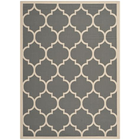 Safavieh Indoor Outdoor Grey Beige Polypropylene Area Rugs Area Rugs Indoor Outdoor