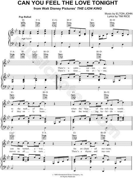 "Elton John ""Can You Feel the Love Tonight"" Sheet Music in"