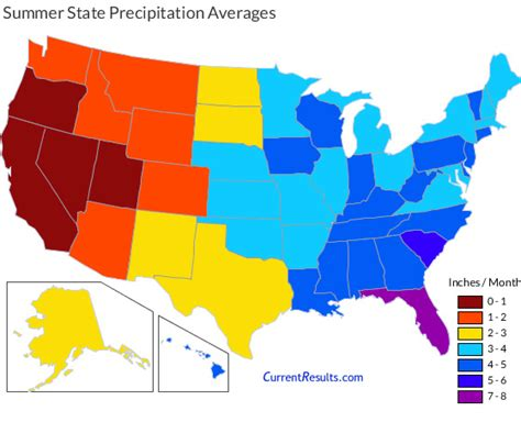 united states precipitation map summer rainfall averages for each usa state current results