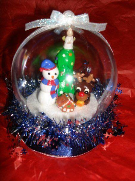 waterless snow globe  polymer clay figurines christmas clay snow globes clay figurine