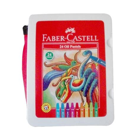 jual faber castell crayon hexagonal pastel with plastic bag white 24 colours