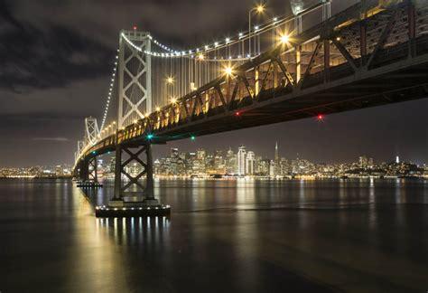 city  san francisco bay bridge night lights california united states hd wallpapers  tablets