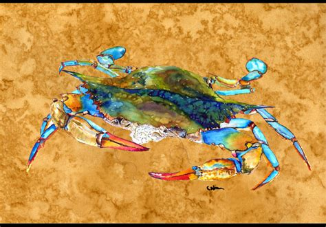 crab rubber st blowing bubbles blue crab indoor or outdoor mat 18x27