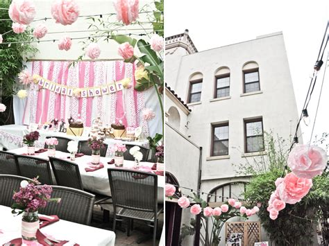 outdoor bridal shower ideas courtyard venue in california adorned with light pink and