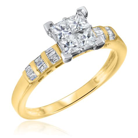 3 4 ct t w engagement ring 14k yellow gold
