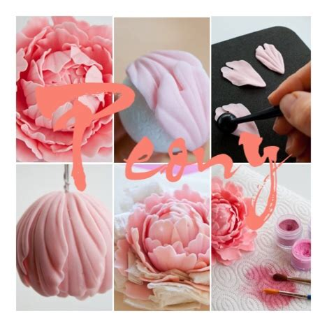 peony tutorial : peony clay and gum paste