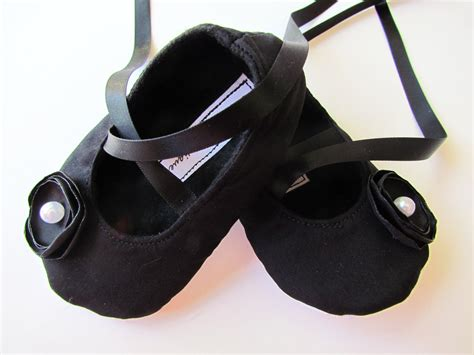 Black Babyheels all black baby shoes soft ballerina slippers cotton baby