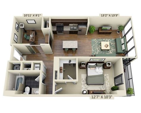 one bedroom with den floor apartment plans and pricing for capitol view on 14th