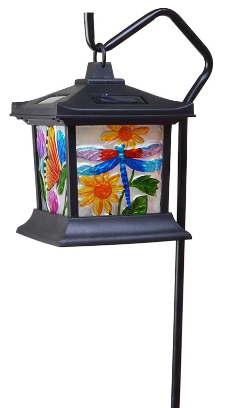 Hanging Outdoor Solar Lights Hanging Stained Glass L Led Light Solar Powered Outdoor Garden Decor Patio Ebay