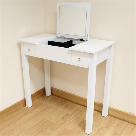 White Vanity Table White Dressing Room Bedroom Vanity Make Up Table Desk Folding Mirror Storage Ebay