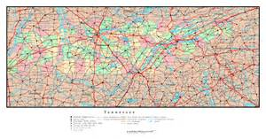 large detailed administrative map of tennessee state with