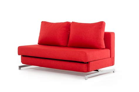 Lifestyle Bedroom Furniture contemporary red fabric sofa bed with chrome legs