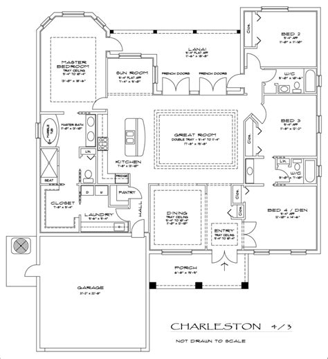 4 bedroom 3 bath the charleston 4 bedroom 3 bathroom floorplan culture