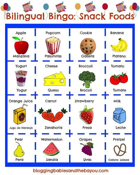 bingo the turning our day into la merienda bilingual after school bingo printable