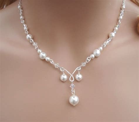 braut collier elegant bridal jewelry set wired crystal pearl necklace