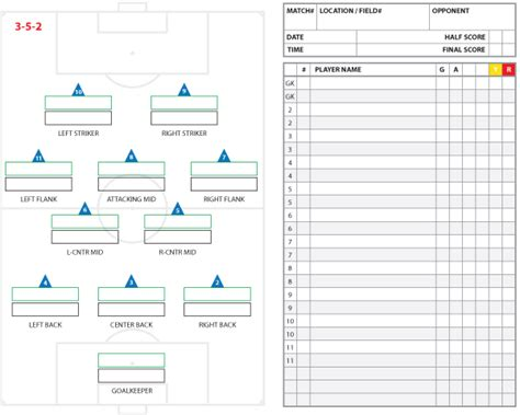 soccer roster template soccer formations and systems as lineup sheet templates