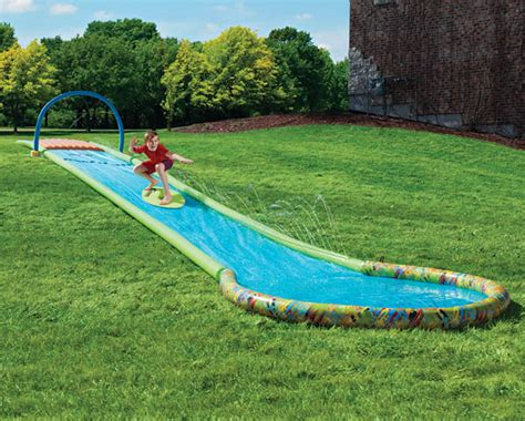 backyard waterslides surfing backyard water slide wicked gadgetry