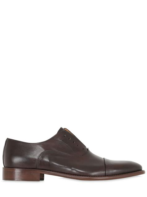 laceless oxford shoes dino draghi leather oxford laceless shoes in brown for
