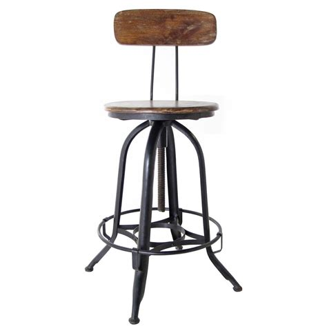 Industrial Bar Stool With Back Architect S Industrial Wood Iron Counter Bar Swivel Stool With Back Kathy Kuo Home