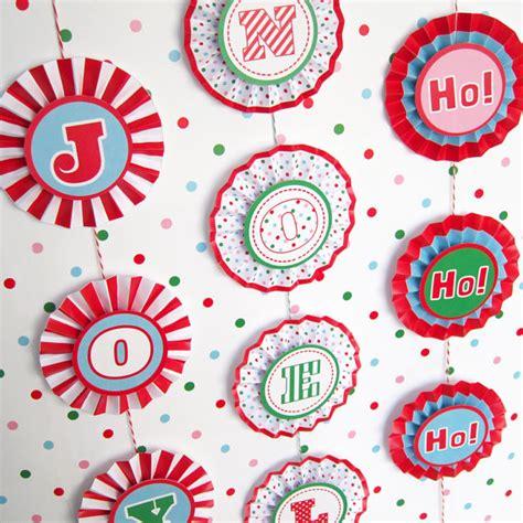 printable paper christmas ornaments joy noel rosette banner decoration printable paper christmas