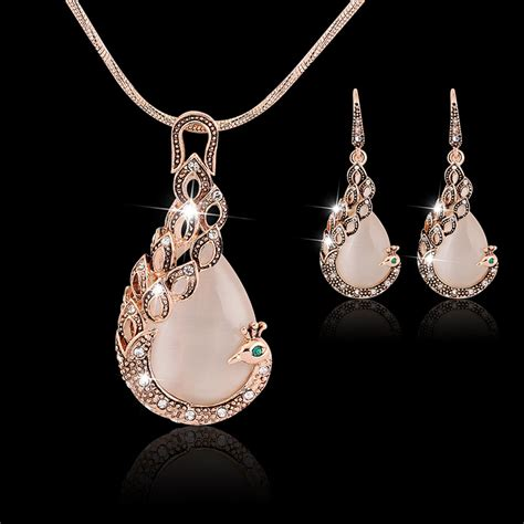 aliexpress jewellery jewelry sets new fashion kc rose gold filled opal crystal