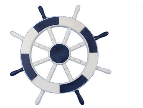 decorative ship wheel blue and white 18 quot