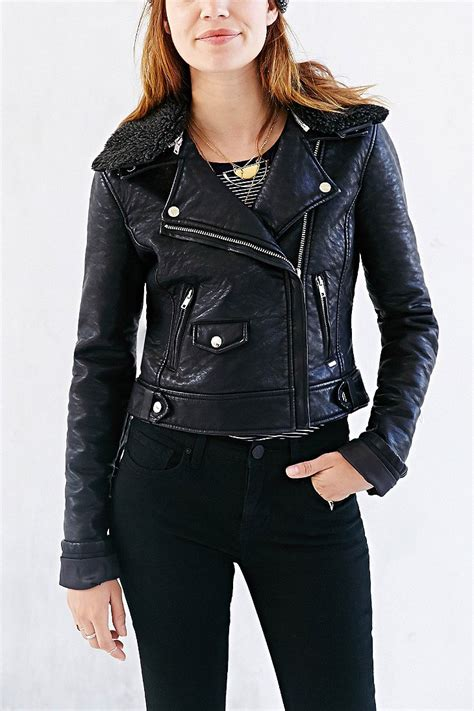 Obey Parka Ori Bekas obey eddie sherpa collar vegan leather moto jacket in black lyst