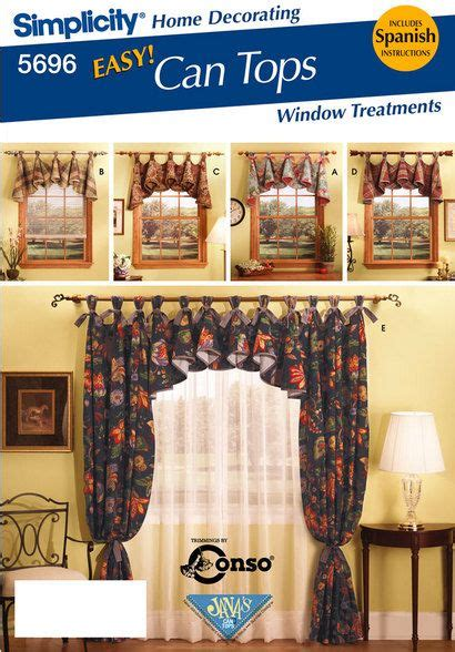 easy simplicity tie up shades window treatment curtain home simplicity home decorating sewing pattern 5696 easy