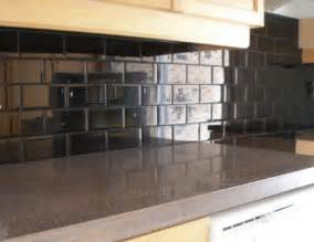 Black Glass Tiles For Kitchen Backsplashes Black Subway Tile Kitchen Backsplash For The Home