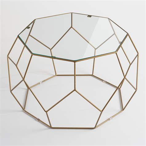 Faceted Metal Coffee Table with Glass Top   World Market