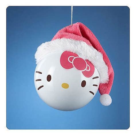 hello kitty santa hat shatterproof white ball ornament