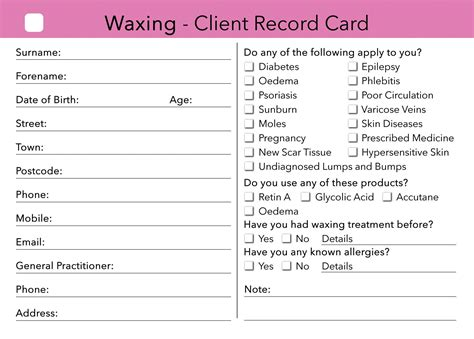 client record card template waxing client card treatment consultation card