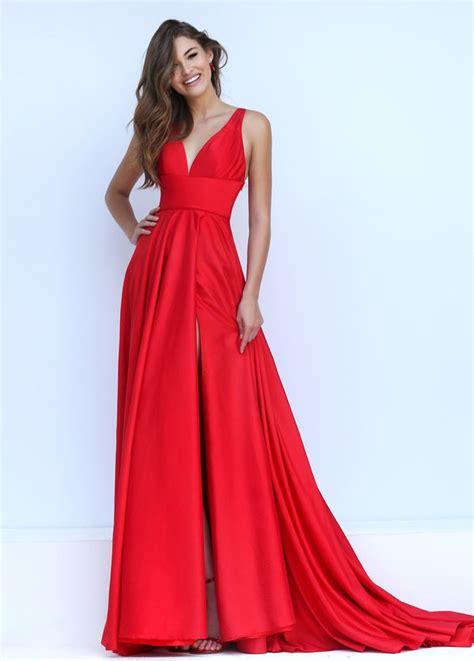 elegant red satin v neck tie back sleeveless empire long