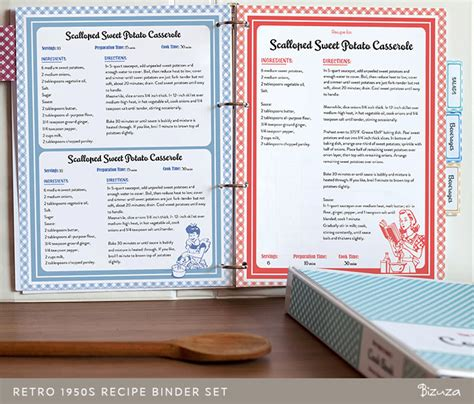 recipe book template recipe book binder set retro 1950s style printable by bizuza