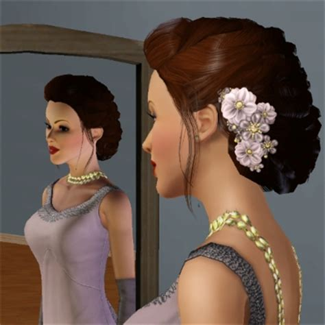 mauve flower updo by hessethran the exchange community