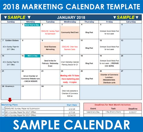 2018 Marketing Calendar Template In Excel Free Download Say More Services Marketing Schedule Template