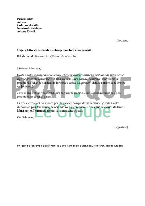Exemple De Lettre Commerciale Pour Vendre Un Produit lettre de demande d 233 change standard d un produit