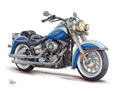 Motorrad Chopper Zeichnung by 2015 Harley Softail Deluxe Drawing By Shannon Watts