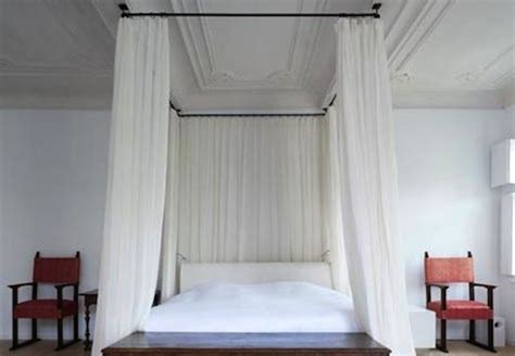 diy canopy bed with curtain rods tkanderson bob vila