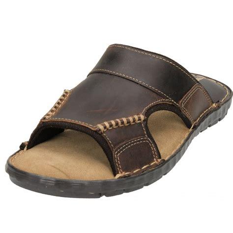slip in sandals mens brown real leather slip on mules flip flops