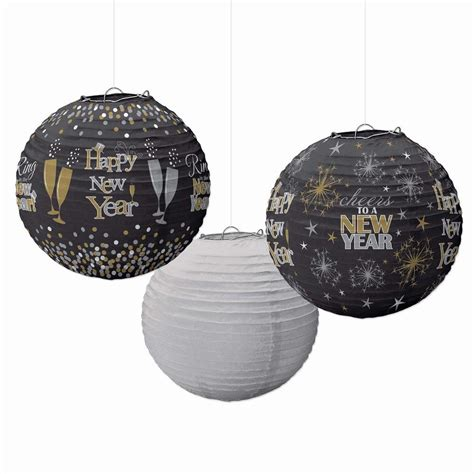 new year pack lanterns amscan new year s 9 5 in black silver and gold lanterns